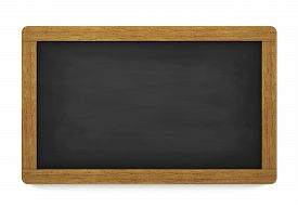 foto of chalkboard  - Education training and school blank wooden blackboard or chalkboard with empty space for your copy on white background - JPG