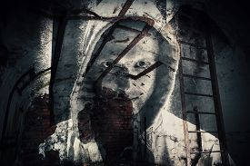 picture of hoods  - Abstract monochrome horror background abandoned dark room with ghost of dangerous man in hood - JPG