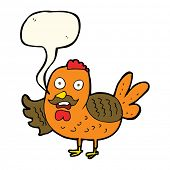 picture of roosters  - cartoon old rooster with speech bubble - JPG