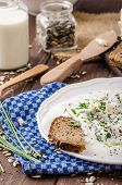 picture of whole-wheat  - Homemade yogurt dip with blue cheese and chives whole wheat bread and milk for bio healthy food - JPG