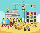 foto of structural engineering  - Cartoon children engineer technician and labor worker working on a construction site building create by vector - JPG