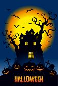 picture of mansion  - Halloween illustration pumpkins and a haunted mansion in full moon night - JPG