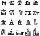 Silhouette House, Church, Shop, Building, And Other Public Construction Architecture Icon Set, Creat poster