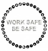 picture of ppe  - Black and white construction manufacturing and engineering health and safety related circular icon collection isolated on white background with bespoke text work safe message - JPG