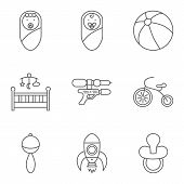 picture of flat-bed  - Baby related flat vector icon set for web and mobile applications - JPG