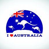 pic of kangaroo  - I love Australia and  Kangaroo and australia flag - JPG