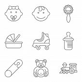 picture of baby bear  - Baby related flat vector icon set for web and mobile applications - JPG