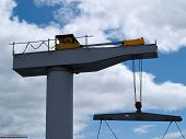 pic of marina  - Boat lifter crane in a marina ready for work horizontal image - JPG