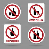 pic of bans  - No alcohol and alcohol free area vector signs - JPG