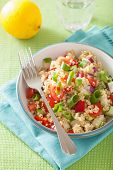 stock photo of chive  - healthy quinoa salad with tomato cucumber onion chives - JPG