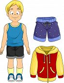 picture of beside  - Illustration of a Little Boy Standing Beside Typical Clothes for Boys - JPG