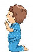 image of pajamas  - Illustration of a Boy in Pajamas Praying Before Going to Bed - JPG
