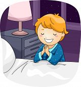 pic of pray  - Illustration of a Little Boy Praying Before Going to Bed - JPG