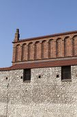 image of synagogue  - old synagogue with  stone wall in jewish district of krakow  - JPG