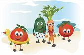 picture of animated cartoon  - Set of  Cartoon Vegetables with Clothes at the Sea - JPG