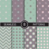 foto of rhombus  - Set of vector seamless geometric pattern backgrounds and textures for decoration - JPG