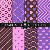 image of rhombus  - Set of vector seamless geometric pattern backgrounds and textures for decoration - JPG