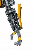 image of machinery  - Gear machinery part robot on white background - JPG