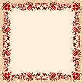 pic of hungarian  - Empty vintage frame with traditional Hungarian floral motives - JPG