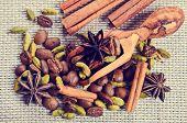 stock photo of cardamom  - Coffee beans star anise cardamom and cinnamon on burlap - JPG