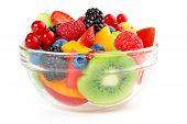 foto of fruit bowl  - bowl of fruit salad isolated on white background - JPG