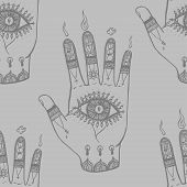 pic of bohemian  - A hand drawn bohemian hand background with eyes - JPG