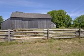 pic of log fence  - Old country barn fences and trees Willamette valley Oregon - JPG