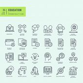 image of online education  - Thin line icons set - JPG