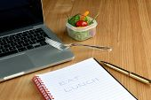 pic of lunch  - Salad for Lunch at Busy Office Worker - JPG