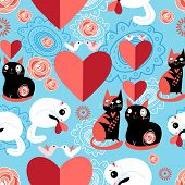 image of enamored  - graphic enamored cats with heart on a blue background - JPG