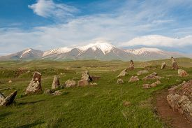 stock photo of armenia  - ancient observatory of patients with stones in Armenia - JPG