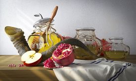 pic of pomegranate  - Honey jar with apples and pomegranate for Rosh Hashana religious holiday - JPG