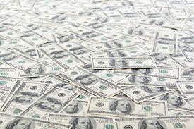 stock photo of 100 dollars dollar bill american paper money cash stack  - Background with money american hundred dollar bills - JPG