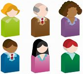 People Icons : Group of 3D people buttons.