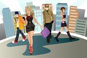 stock photo of young adult  - A vector illustration of a group of young urban people - JPG