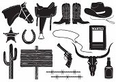 pic of texas star  - Vector cowboy clothes and elements for work and life on white - JPG