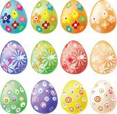Set Of Decorated Easter Eggs