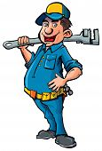 Cartoon Plumber Witha Wrench