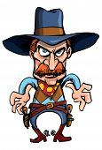 Cartoon Cowboy Ready To Draw His Guns