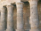 Hieroglyphs On The Culumns Of The Ramses Three Temple, Medinet Habou, Louxor, Egypt