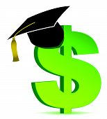 Education and dollar sign illustration design over white
