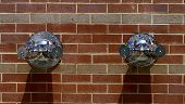 stock photo of hookup  - Pair of hookups for dry standpipes on wall - JPG