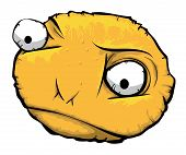 stock photo of doughy  - Yellow round unhappy Face of a Scraping - JPG