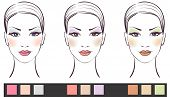 Set Of Beauty Women Face With Makeup Vector Illustration