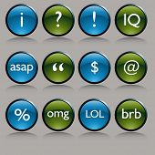 An image of a shiny round text messaging symbol buttons.