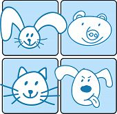 stock photo of cute animal face  - A group of happy animal face Vector file of animals - JPG