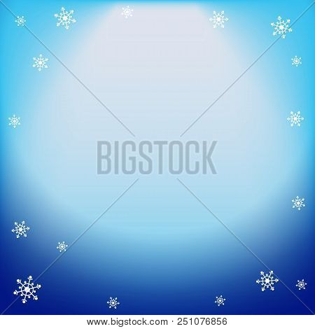 poster of Winter Vector Blue Light Effect, Projector Ray With Shining Halo And Snowflakes. Falling Magical Spo
