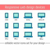 Responsive Design Icons Set Vector. Flat Responsive Design Icons In Memphis Style. Vector Responsive poster