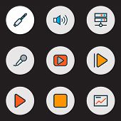 Media Icons Colored Line Set With Media Server, Upward, Presentation And Other Pause Elements. Isola poster