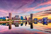 Baltimore, Maryland, USA Skyline on the Inner Harbor at dusk. poster